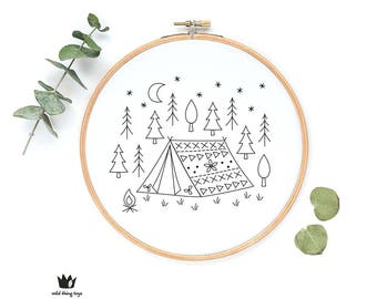 Forest, mountain, camping, tent, cute whimsical, woodland, trees,  sampler Digital hand embroidery pattern , PDF instant Download