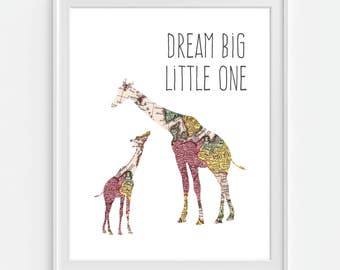 Giraffe Nursery Art Print, Dream Big Little One, World Map, Nursery Decor, Baby Giraffe, 5x7, 8X10, 11x14 Baby Nursery Wall Art, Nursery Map