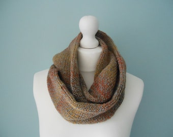 Men's knitted scarf gift for boyfriend, brown knit scarf, men's cowl neck warmer, men's fashion accessories, unique handmade scarves