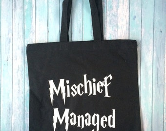 Harry Potter Tote Bag, Mischief Managed Tote Bag, Marauders Map Tote Bag