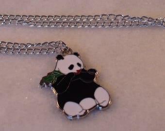 Panda Necklace, Panda Bamboo Necklace, Enamel Necklace, Silver Tone Necklace, Silver Chain, Lobster Clasp, Mother's Day