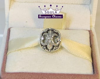 925 Sterling Silver Charm European bead Fleur-De-Lis, Clear CZ fit Pandora bracelet and European Bracelets