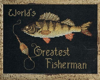 CROSS STITCH PATTERN - Fishing Cross Stitch -  World's Greatest Fisherman Cross Stitch - Sports cross stitch - Sportsman Gift