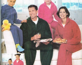 Misses' Mens Child Fleece Jumpsuit Pajama Pattern - Full Length Pajamas With Front Zipper - Sleepwear Bodysuit - Butterick 6355