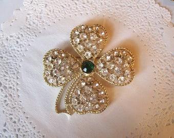 Vintage Rhinestone Brooch (68) -- Rhinestone Clover Brooch - four leaf clover brooch - clover jewelry - vintage jewelry
