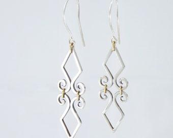 Fleur de Lis Earrings- Sterling Silver and 18k Gold