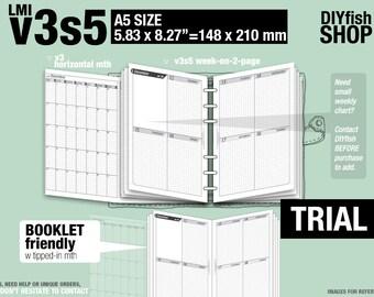 Trial [A5 v3s5 w/o daily] November to December 2017 - Filofax Inserts Refills Printable Binder Planner Midori.