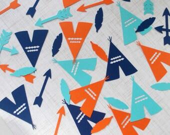 Tribal Party Decoration, TeePee Arrow Feather Confetti, Blues & Orange Tribal Confetti, Boho, 70 Ct.