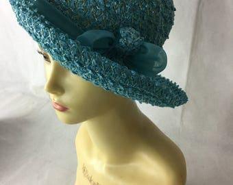 1950's Blue Straw Hat
