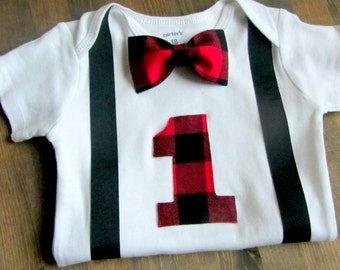 Lumberjack First Birthday Shirt  Woodland Birthday  - Black Red Plaid Flannel  - 1st Birthday Boy - First Birthday Boy - Buffalo Plaid