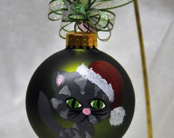 Single,  hand painted Kitten ornament