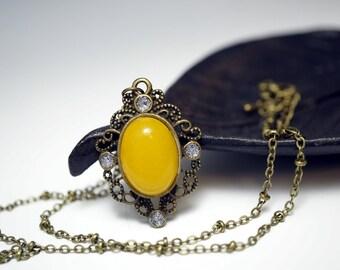 Jade Necklace, Genuine Orange Jade Necklace Yellow Jade Jewelry, Retro Bronze Yellow Stone Pendant