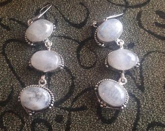 VINTAGE Rainbow Moonstone Dangle Earrings-Moonstone Earrings-Moonstone Earrings-Rainbow Moonstone, Moonstone Dangle Earrings
