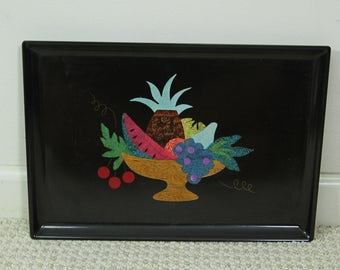 Rare Vintage Couroc Of Monterey Fruit Serving Tray Large, Black