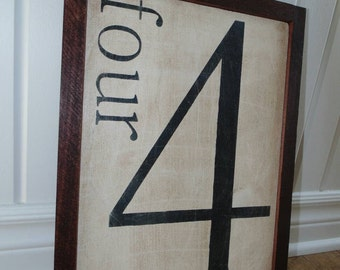 Family Number Wood Sign