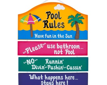 Outdoor Pool Sign - Pool Rules