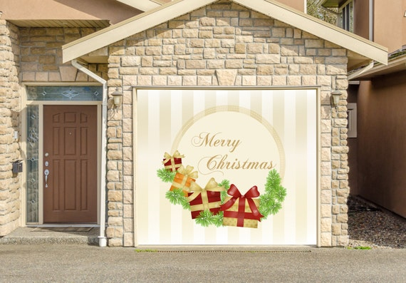 Items similar to christmas decor single garage door covers for Christmas garage door mural