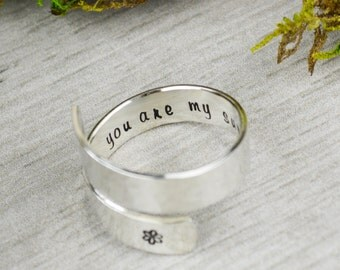You Are My Sunshine Wrap Ring // Handstamped Jewelry Twist Ring