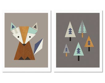 Little Fox Nursery Art, Fox in The Woods Series of Two print ( Aqua and Navy.) Kids Room Art, Scandinavian, Modern Nursery Art, Fox nursery.