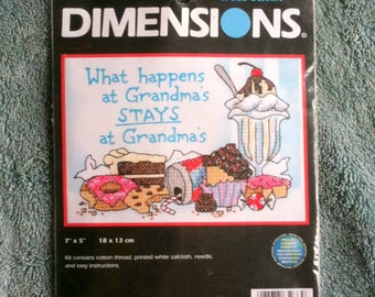 Dimensions Cross Stitch Stamped Cross Stitch Kit What Happens at Grandmas Multi Lingual Instructions Made in the USA  B20
