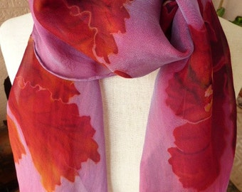 Silk Scarf Hand Painted Flowers Sheer Silk Scarf