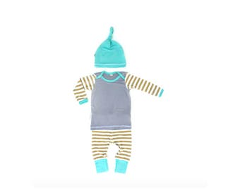 Bamboo Mustard Stripes Baby Boy Take Home Outfit with Matching Beanie Knot Hat Gift Set