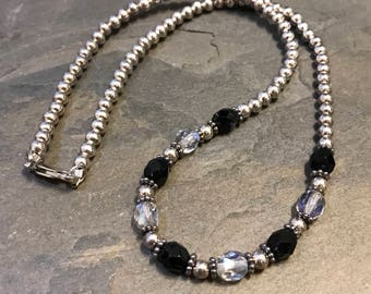 "16"", Vintage Sterling silver handmade necklace, 925 silver beads with clear and black crystal beads, stamped 925"