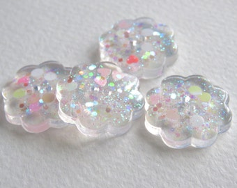 Handmade Resin Buttons With Iridescent Glitter Inclusions. Set Of Four Flower Shaped Buttons. 20mm
