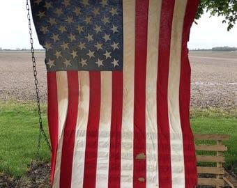 Vintage Large Rustic American 50 Star Flag Large Cloth Sewn American Patriotic Flag