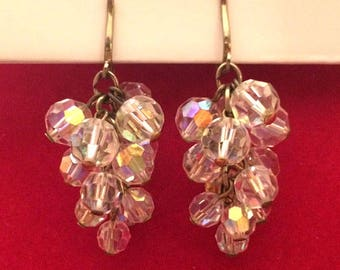 Wow! Vintage 50's AB Aurora Borealis Crystal Cluster Drop Illusion Clip On Earrings