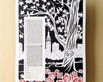 Papercut Ketubah  NYC Skyline With Roses