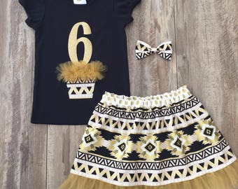 """Girls 6th Birthday Outfit, Black & Gold Aztec """"6"""" Birthday Shirt with Matching Skirt, Size 6, Ready to Ship"""