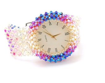 watches for womens, Unique Pink Swarovski Crystal Luxury Ladies Handmade Beaded Gifts Statement Bohemian montre femme watch, Korean Jewelry