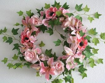 "Flower wreath, wedding wreath ,summer wreath , door wreath, artificial wreath , roses, poppy  30 cm, 11.8"""