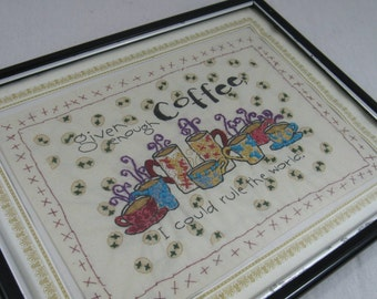 Vintage Framed Embroidery Cross Stitch Coffee Wall Hanging Wall Art Kitchen Decor