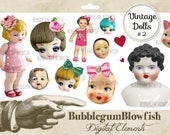 Cute Kitsch vintage dolls and doll heads bows flowers hearts lips lipstick Digital Graphic Design Elements