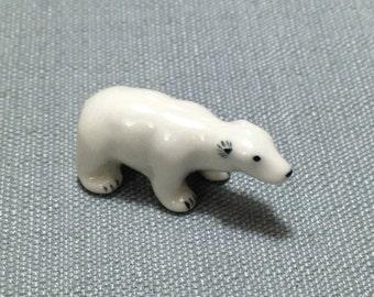 Miniature Ceramic Polar Bear Baby Mini Animal Cute Little Small White Figurine Statue Decoration Craft Collectible Hand Painted Decor Deco