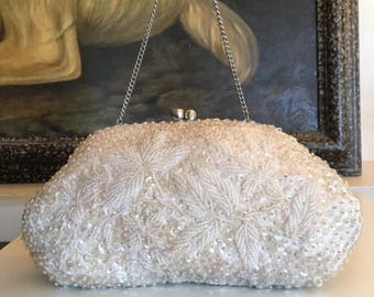Beaded Sequin purse,formal purse, Bags ,Purses, Hong Kong, Formal, Handbag, White, Kiss Lock,converts to clutch