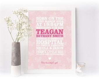 New Baby Block Birth Print