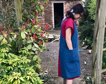 Japanese crossover apron dress smock pinafore in petrol blue