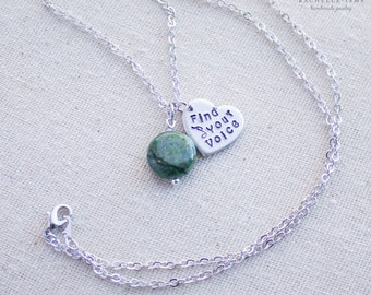 Find Your Voice Necklace - Chrysocolla Jewelry for Finding Your Voice - Necklace for Domestic Violence Awareness - Jewelry for Survivor Gift