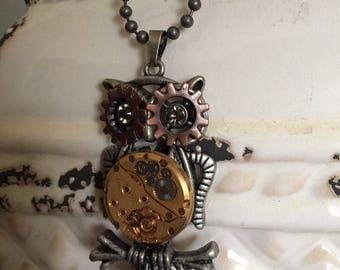 "Steampunk Necklace, Owl Necklace, Women""s Jewelry, Steampunk Jewelry, Watch Parts, Rhinestone,  Watch Parts, Owl Necklace, Gift idea"