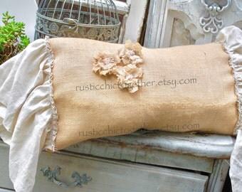 Burlap Pillow Linen  ruffles -Handmade Rosette 12x20