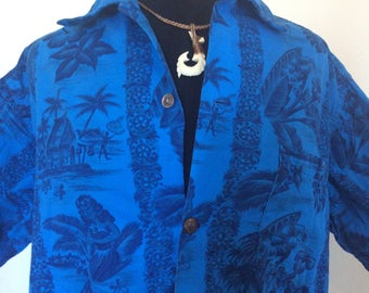 Vintage Blue Hawaiian Shirt - L