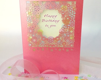 Happy Birthday to You Greeting Card Paper Cut on your Birthday Girly Pink Pearl Board