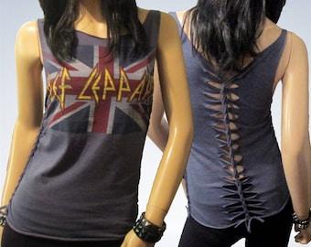 Def Leppard / Cut / Shredded / Weaved / Band T Shirt
