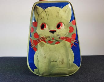 Vintage Horner Cat Tin Metal Box 1930's