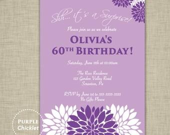 Purple Surprise Birthday Party Invitation Lavender Invite Floral Party Invite Milestone 40th 50th 60th Adult DIY Printable Invitation 335b