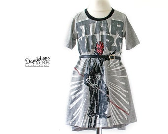 Girls Star Wars Dress..Upcycle from New T-Shirt..Hi-Lo Hem..Sci Fi Girl's Dress..Handmade Age 2