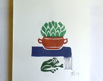"""FREE SHIPPING Worldwide, Original Handmade Multicolor Linocut Print, 6"""" x 8"""" hand-pulled print, cactus, frog, wall decor, new home gift"""